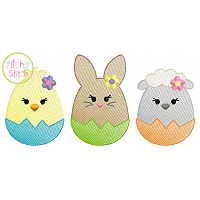 Egg Shaped Trio Girl Sketch Embroidery