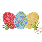 Egg Trio in Grass Applique