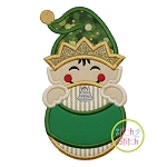 Elf Boy Ornament Peeker Applique