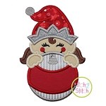 Elf Girl Ornament Peeker Applique