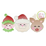 Elf Santa Deer Trio Boy Sketch Embroidery