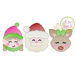 Elf Santa Deer Trio Girl Sketch Embroidery