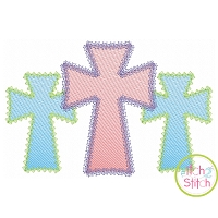 Fancy Cross Trio Sketch Embroidery