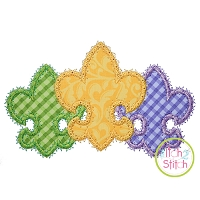 Fancy Fleur De Lis Trio Applique