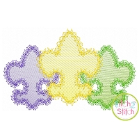 Fancy Fleur De Lis Trio Sketch Embroidery