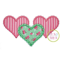 Fancy Heart Trio Applique