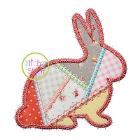 Fancy Patchwork Bunny Applique
