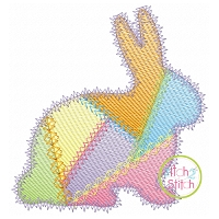 Fancy Patchwork Bunny Sketch Embroidery