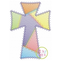 Fancy Patchwork Cross Sketch Embroidery