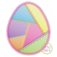Fancy Patchwork Egg Sketch Embroidery