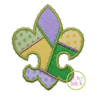 Fancy Patchwork Fleur De Lis Applique
