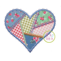 Fancy Patchwork Heart Applique