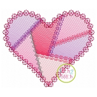 Fancy Patchwork Heart Sketch Embroidery