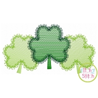Fancy Shamrock Trio Sketch Embroidery