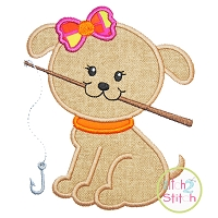 Fishing Puppy Girl Applique