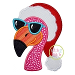 Flamingo Santa Hat Applique