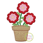 Flower Trio in Pot Applique