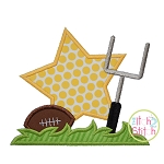 Football Star Goal Post Applique