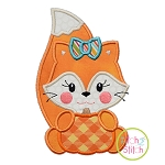 Fox with Pumpkin Girl Applique
