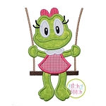 Froggie in the Swing Girl Applique