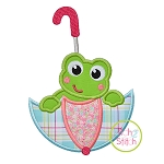 Frog in Umbrella Applique