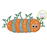Fuzzy Caterpillar in Grass Applique