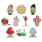 Garden Gnome Applique Set