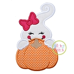 Ghost Girl Pumpkin Peeker Applique