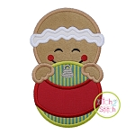 Gingerbread Boy Ornament Peeker Applique