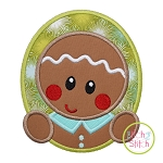 Gingerbread Oval Boy Applique