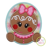 Gingerbread Oval Girl Applique