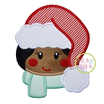 Girl Fluffy Hat Applique