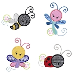 Girly Bugs Applique Set