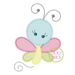 Girly Butterfly Sketch Embroidery