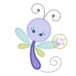 Girly Dragonfly Sketch Embroidery