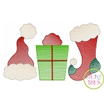 Hat Gift Sock Trio Sketch Embroidery