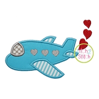 Heart Airplane Applique