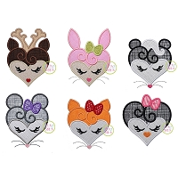 Heart Animal Faces Applique Design Set