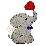 Elephant Blowing Heart Boy Applique