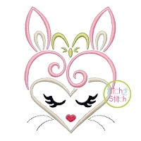 Heart Bunny Face Embroidery