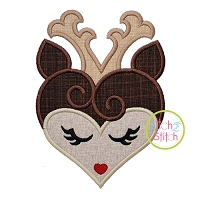 Heart Deer Face Applique