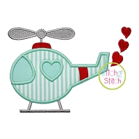 Heart Helicopter Applique
