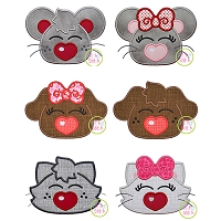 Heart Nose Animal Applique Set