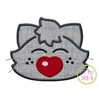 Heart Nose Kitty Boy Applique