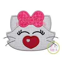 Heart Nose Kitty Girl Applique