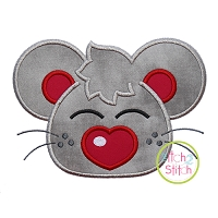 Heart Nose Mouse Boy Applique