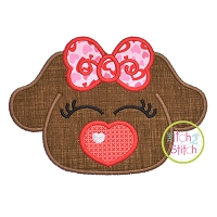 Heart Nose Puppy Girl Applique