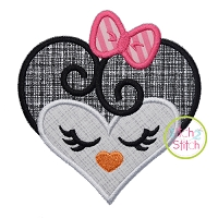 Heart Penguin Face Applique