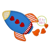 Heart Rocket Applique