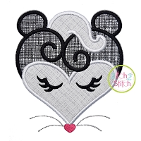 Heart Skunk Face Applique